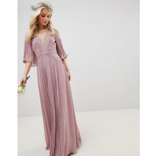 a6c048c333 Suknie i sukienki · ASOS DESIGN Bridesmaid pleated panelled flutter sleeve  maxi dress with lace inserts - Pink