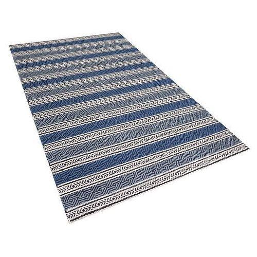 Dywan niebiesko-szary - 140x200 cm - wełna - chodnik - kilim - patnos marki Beliani