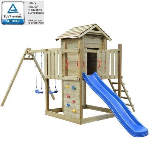 Vidaxl Plac zabaw z drabinką, zjeżdżalnią i huśtawkami, drewniany