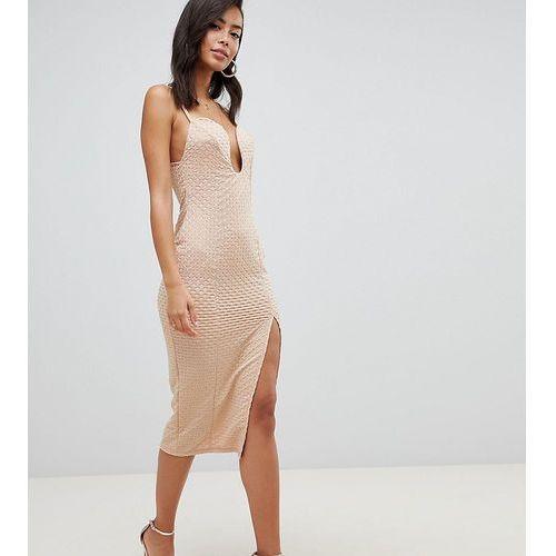 Asos design tall deep v bar midi bodycon dress with thigh split in rib jersey - beige, Asos tall