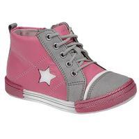 Trzewiki nieocieplane buty 3883 skórzane - multikolor ||różowy ||szary marki Kornecki