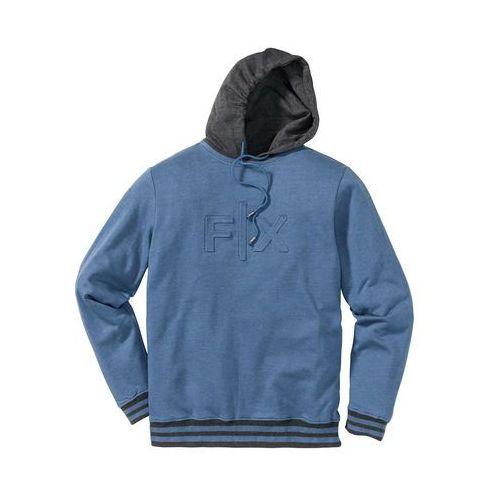 Bluza z kapturem Regular Fit bonprix niebieski dżins melanż, z