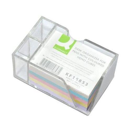 Przybornik na biurko Q-CONNECT na długopisy, z kolorowymi karteczkami, przeźroczysty, KF15853