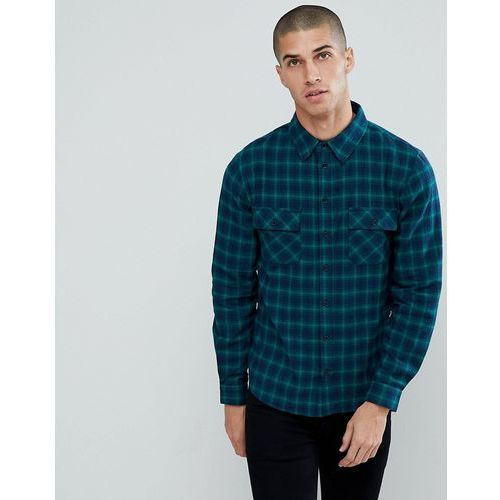 flannel check shirt with twin pocket - navy marki Another influence