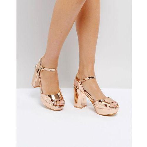 metallic platform heeled sandal - copper marki Truffle collection