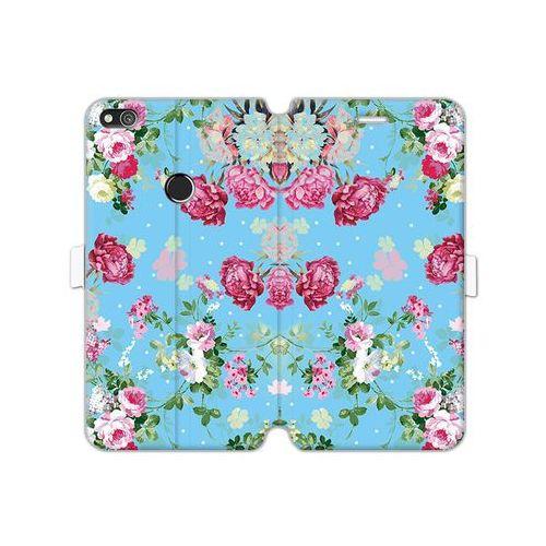 Huawei P8 Lite (2017) - etui na telefon Wallet Book Fantastic - różyczki na miętowym tle, kolor różowy