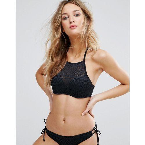 Dorina Black Halter Neck Crochet Bikini Top - Black, halter