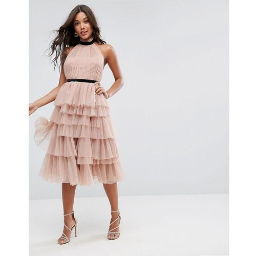 premium high neck tiered tulle midi prom dress - pink marki Asos