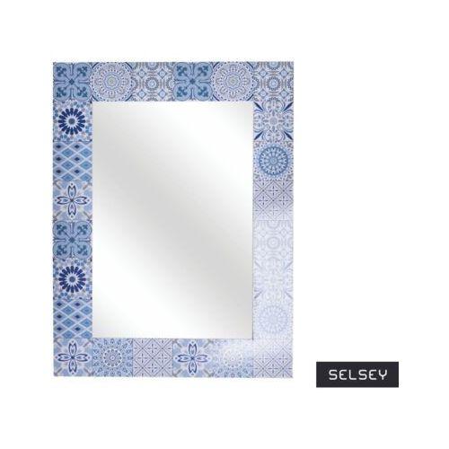 Ewax Selsey lustro lamella 56x42 cm drewniane z niebieską mozaiką (5903025803685)