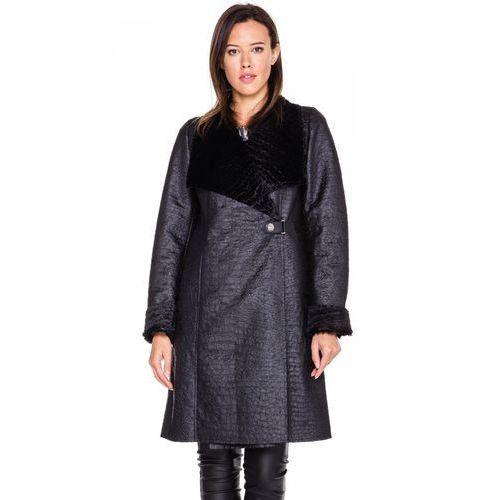 Płaszcz z imitacji skóry - Vito Vergelis, kolor czarny