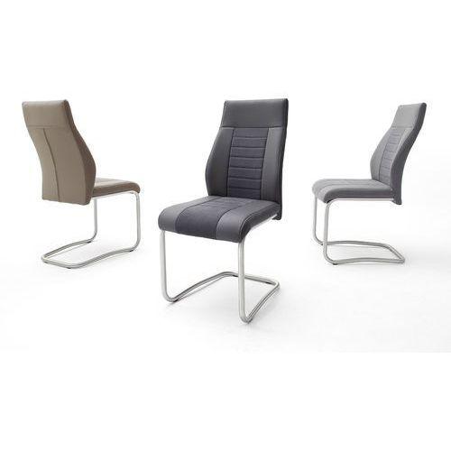Krzesło na płozie TUTTI stal szlachetna trzy kolory ekoskóry