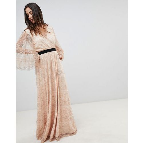 Y.a.s all over lace wrap maxi dress - pink
