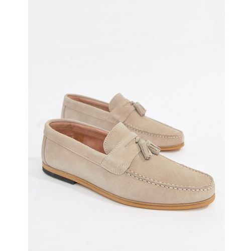 River island suede loafer with tassels in ice grey - grey