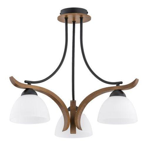 Lampa wisząca Bafia 3 x 60 W E27 czarna/orzech/biała