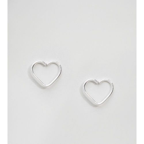 Kingsley Ryan Sterling Silver Cut Out Heart Ear Studs - Silver, kolor szary