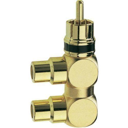 Audio Przejściówka, adapter Inakustik 0080421 80421, [1x złącze męskie cinch - 2x złącze żeńskie cinch], złoty, Wykonanie złącza: kątowe jednostronne, Miedź (4001985804214)