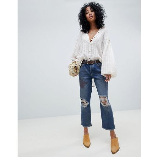 tattooed ripped boyfriend jeans - blue marki Free people