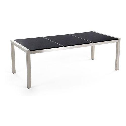 Zestaw ogrodowy stół granitowy dzielony blat czarny i 8 krzeseł rattanowych czarnych grosseto marki Beliani