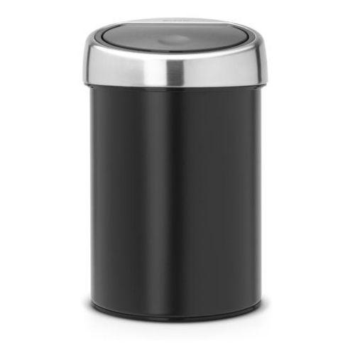 Brabantia Kosz na śmieci touch bin 3l czarny z pokrywą stalową