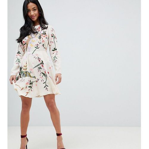 Asos design petite mini dress with pretty floral and bird embroidery - pink, Asos petite