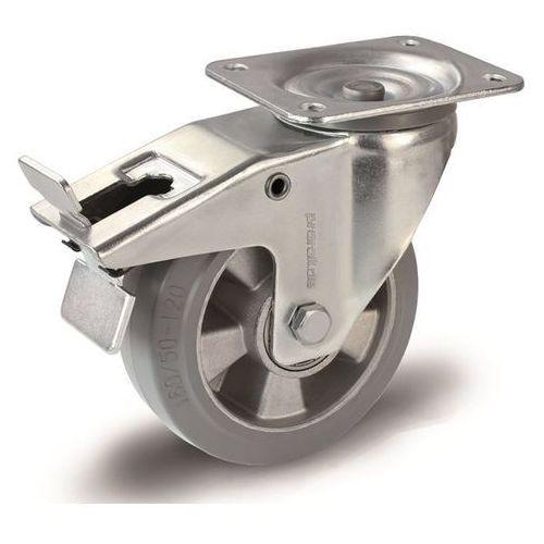 Proroll Elastyczne ogumienie pełne, szare, Ø x szer. kółka 200x50 mm, rolka skrętna z po