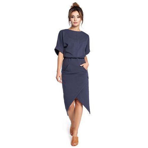 Niebieska sukienka z kopertowo zakładanym dołem, Moe, 36-46