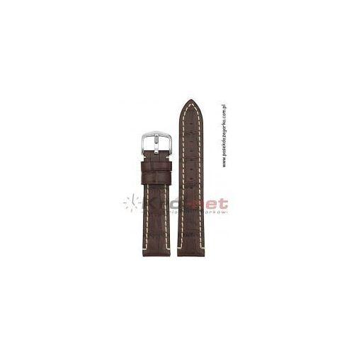 Pasek Hirsch Knight 24 mm - ciemny brązowy, przeszywany, kolor brązowy