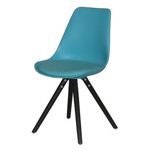 Interstil Krzesło woody turkus, drewno dębu malowane czarne, 22130-16
