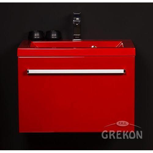 Czerwona szafka wisząca z umywalką 60/39CZ seria Fokus CZ, kolor czerwony