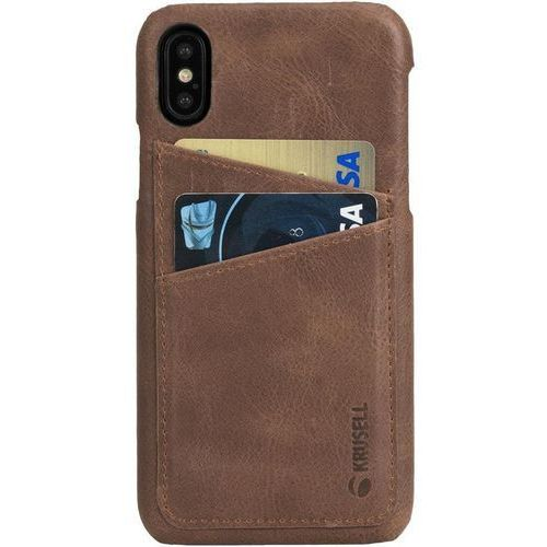 Krusell sunne 2 card cover - skórzane etui iphone x z dwoma zewnętrznymi kieszeniami na karty (brown) (7394090611042)