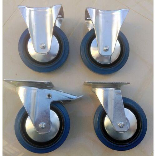 Zestaw kół fi 125 mm 4 szt. płytka, 500 KG STAŁE, SKRĘTNE niebieski kauczuk MOCNE