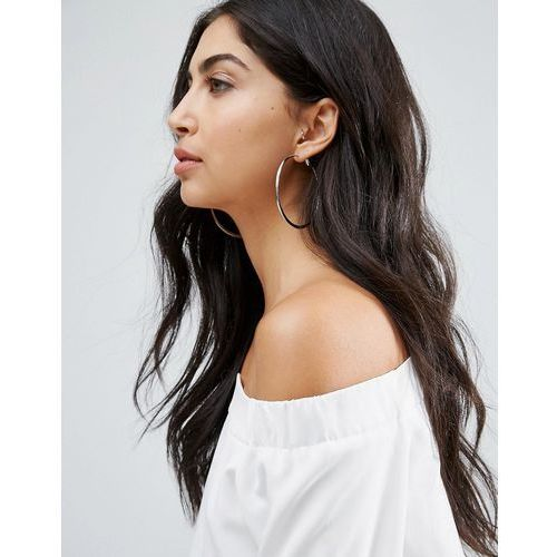River island flat bottom hoop earrings in silver - silver