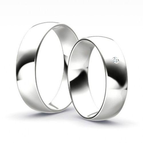 Klasyczne obrączki półokrągłe z brylantem model Z56P2 (komplet) z kategorii Obrączki ślubne