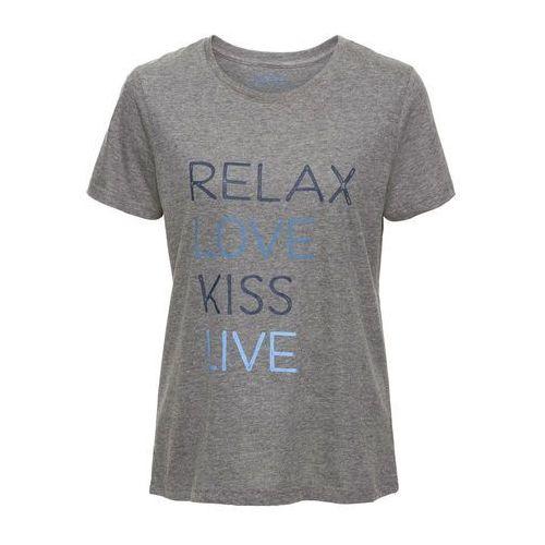 T-shirt z nadrukiem, krótki rękaw bonprix szary melanż z nadrukiem, w 6 rozmiarach
