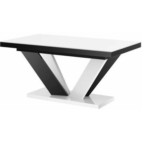 Stół rozkładany VIVA 2 160-256 biało-czarny mix połysk, HS-0208