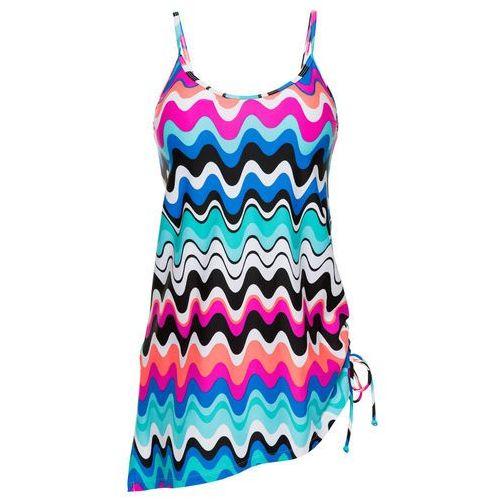 Sukienka kąpielowa bonprix różowo-niebieski z nadrukiem