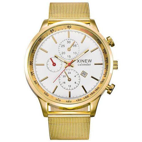 Zegarek męski XINEW bransoleta złoty biały - GOLD WHITE