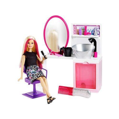 Lalka Barbie Brokatowy salonik fryzjerski blondynka Mattel + akcesoria (0887961356489)