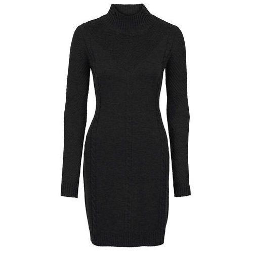 Bonprix Sukienka dzianinowa w ażurowy wzór czarny