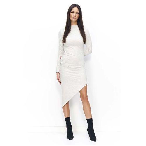 16d1308068 Beżowa sukienka dzianinowa asymetryczna na długi rękaw marki Makadamia