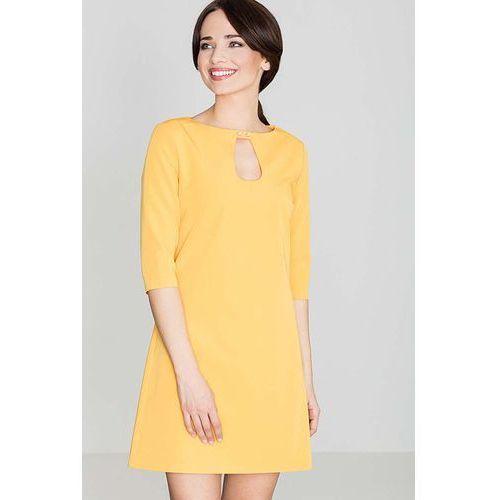 Żółta Mini Trapezowa Sukienka z Łezką, KK129ye