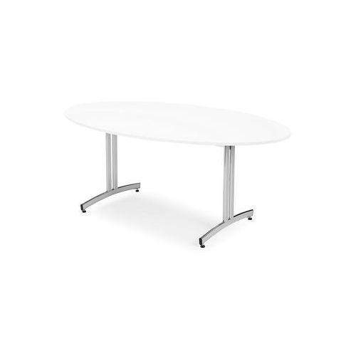 Aj produkty Stół do stołówki sanna, owalny, 1000x1800 mm, laminat, biały, chrom