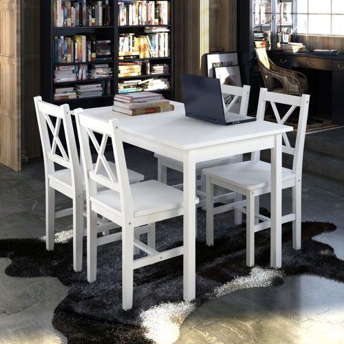 Vidaxl drewniany zestaw: stół i cztery krzesła, kolor biały (8718475863977)