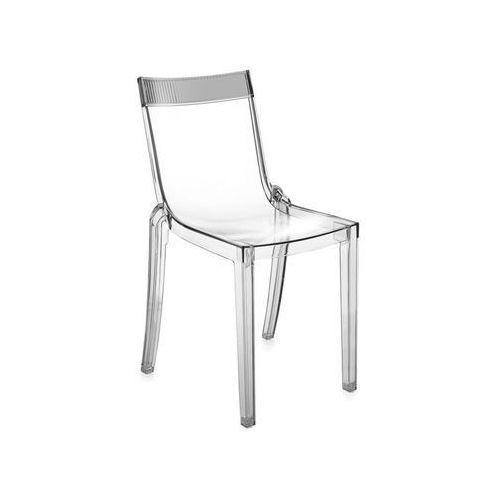 Krzesło hi-cut przezroczyste z przydymionym paskiem marki Kartell