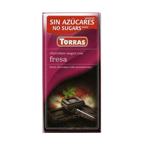 Czekolada gorzka z truskawkamii bez dodatku cukru 75g TORRAS