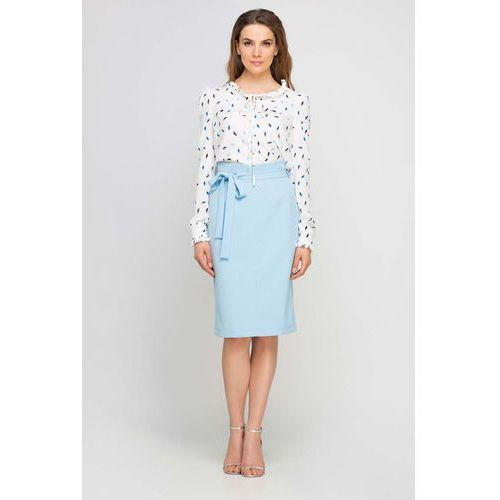 Błękitna spódnica ołówkowa przed kolano z szarfą marki Lanti