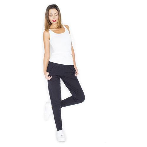 Czarne komfortowe dresowe spodnie z kieszeniami, Katrus, 36-42