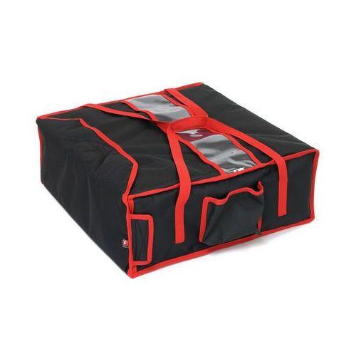 Podgrzewana torba wykonana z kodury na 4 kartony do pizzy o wymiarach 400x400 mm, czarna z czerwoną lamówką   FURMIS, T4M P