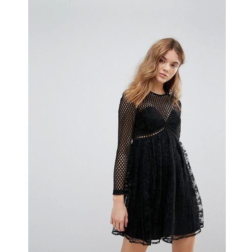 New Look Fishnet Lace Pleat Dress - Black, kolor czarny