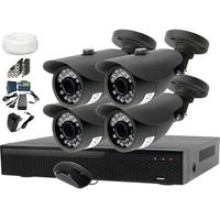 Monitoring domu zestaw ahd rejestrator lv-xvr44n + kamera 4x lv-al20mt + akcesoria marki Ivel